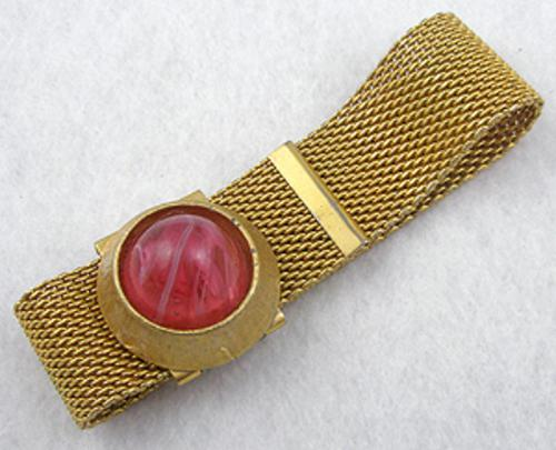 Newly Added Gold Tone Mesh Pink Glass Bracelet