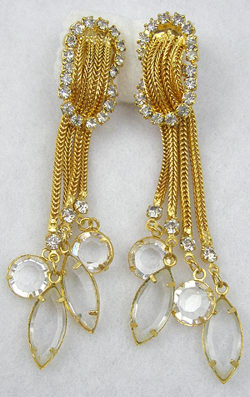 Earrings - Golden Chains Rhinestone Earrings