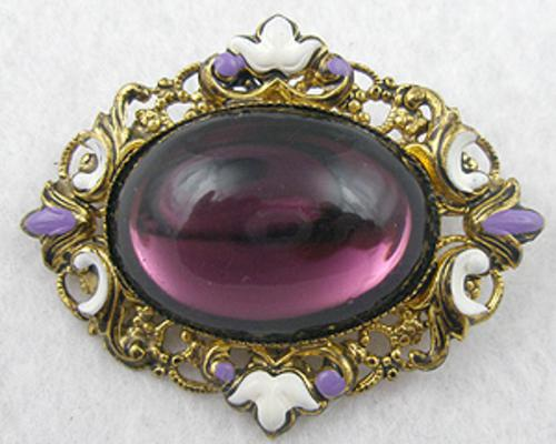 Brooches - Brass Filigree Purple Cabochon Brooch