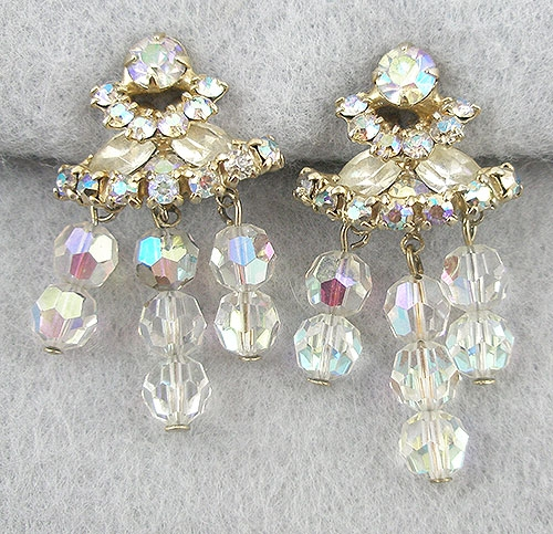 Bridal, Wedding, Special Occasion - Aurora Borealis Rhinestone & Crystal Bead Earrings