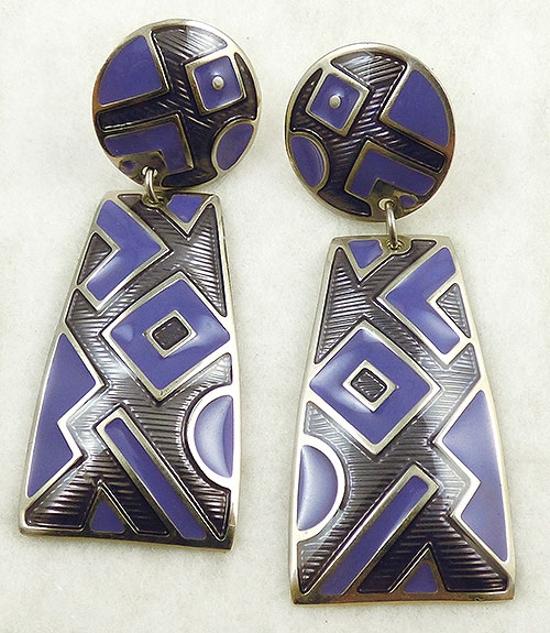 Newly Added Edgar Berebi Purple Enamel Earrings