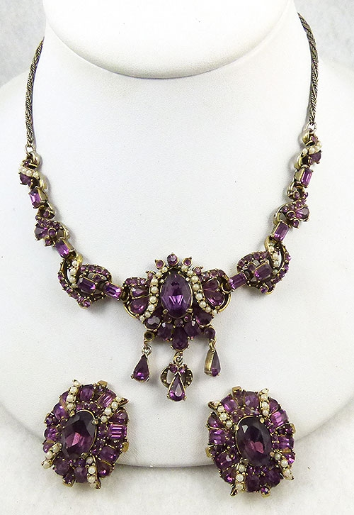 Hollycraft - Hollycraft Amethyst Rhinestone Necklace Set