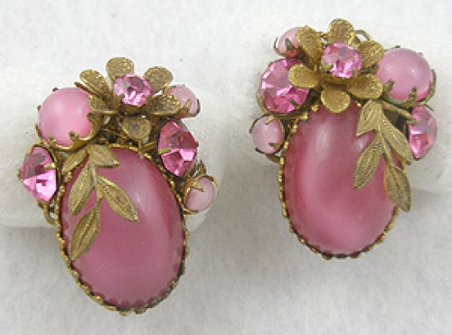 DeMario - DeMario Pink Glass Moonstone Earrings
