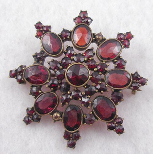 Newly Added Victorian Bohemian Garnet Star Brooch
