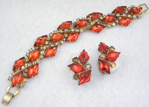 Autumn Fall Colors Jewelry - Orange Glass Diamond Bracelet Set