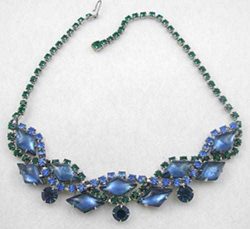 Necklaces - Blue Art Glass &  Rhinestone Necklace
