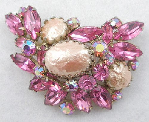 Brooches - Regency Pink Rhinestone Brooch
