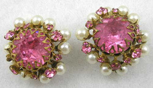 Earrings - Miriam Haskell Pink Rhinestone & Pearl Earrings