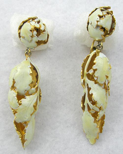 Leaves & Plants - Sandor Yellow Enamel Leaves Earrings