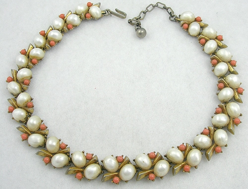 Necklaces - Trifari Faux Pearl & Coral Necklace