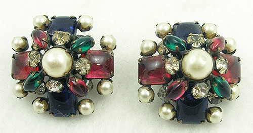 Earrings - Schreiner Jeweled Cabochon Quatrefoil Earrings