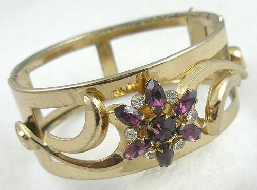 Bracelets - Coro Amethyst Rhinestone Flower Bracelet