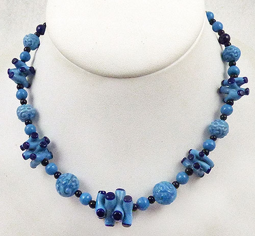 Newly Added Blue Art Glass Bead Necklace
