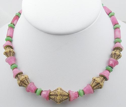 Necklaces - Art Deco Czech Glass Beads Necklace