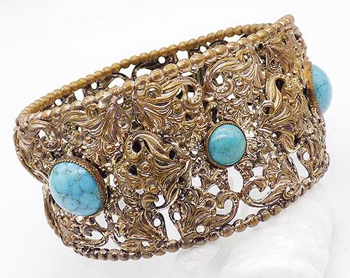 Bracelets - Czech Gold Tone Filigree Hinged Bracelet