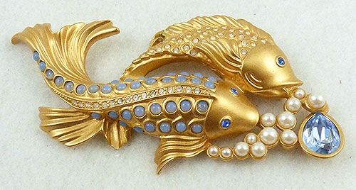 Figural Jewelry - Birds & Fish - Elizabeth Taylor for Avon Sea Shimmer Koi Fish Brooch
