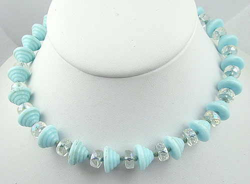 Necklaces - West Germany Aqua Molded Glass Bead Necklace
