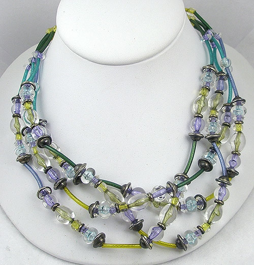 Spring Pastel Jewelry - Italian 4-Strand Clear Bead Necklace