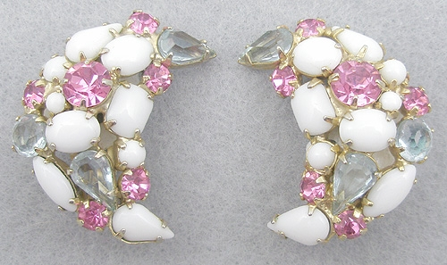Earrings - Milk Glass, Pink & Alexandrite Rhinestone Earrings