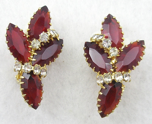 Earrings - Red Rhinestone Navette Earrings