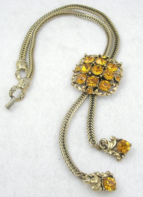 Necklaces - Selro Topaz Rhinestone Bolo Necklace