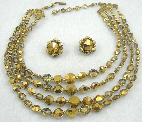 Autumn Fall Colors Jewelry - Van Dell Gold Crystal Necklace Set