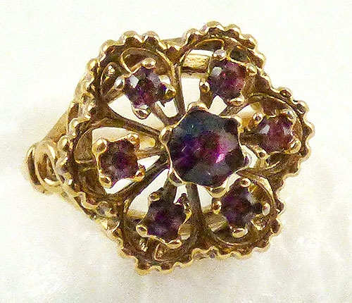 Newly Added Vargas Amethyst Rhinestone Flower Ring