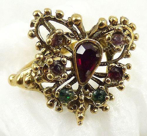 Misc. Signed S-Z - Vargas Rhinestone Butterfly Ring