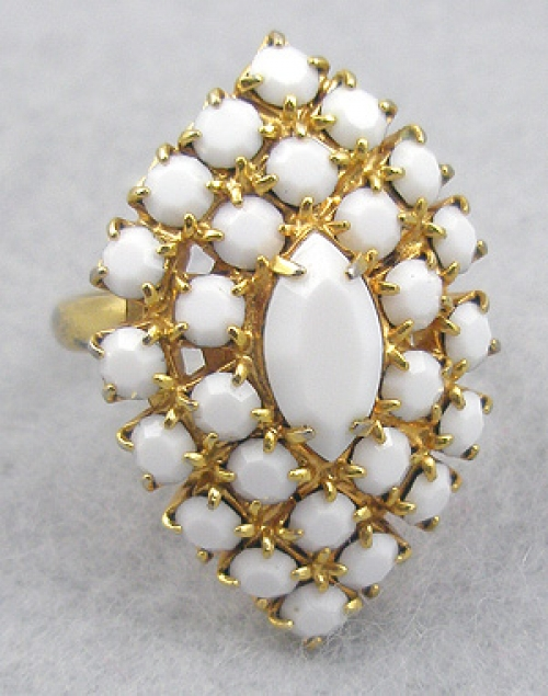 Rings - Milk Glass Rhinestone Ring