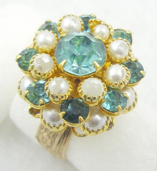 Rings - Aqua Rhinestone & Faux Pearl Ring