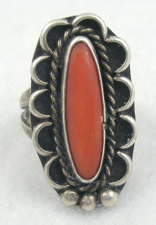 Coral Jewelry - Navajo Sterling Coral Ring