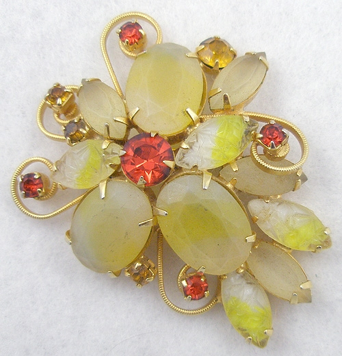 Brooches - Yellow Frosted Glass Brooch