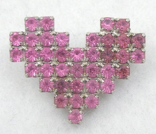 $25 or Less - Dorothy Bauer Pink Rhinestone Heart Brooch