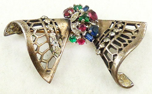 Newly Added Trifari Sterling Jeweled Bow Brooch
