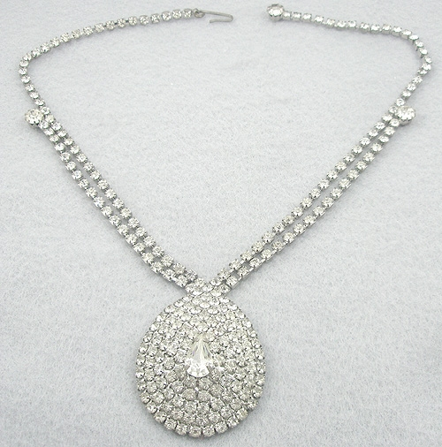 Necklaces - Rhinestone Teardrop Necklace
