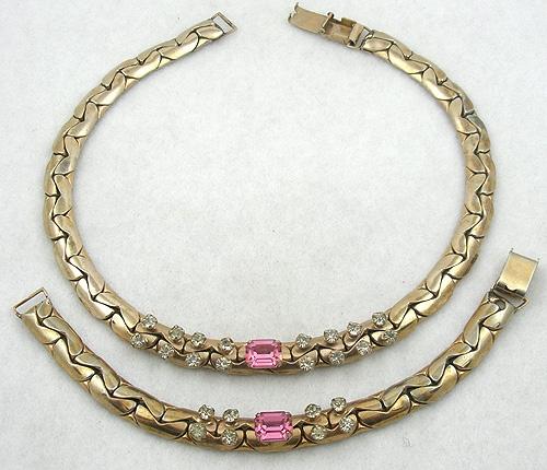 Kafin - Kafin Pink Rhinestone Necklace & Bracelet Set