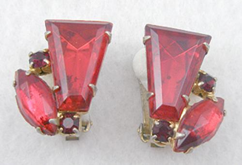 Earrings - Red Rhinestone Earrings