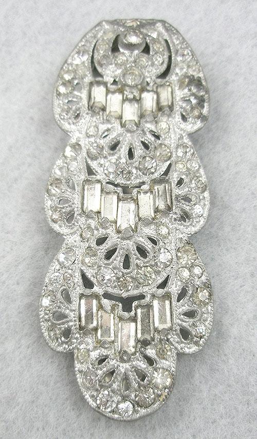 Dress & Fur Clips - 1930's Pot Metal Rhinestone Dress Clip