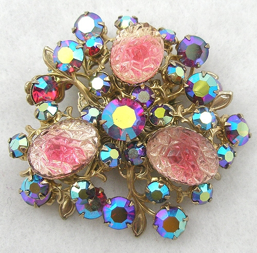 $25 or Less - Pink Givre Bumpy Glass and Red Aurora Brooch