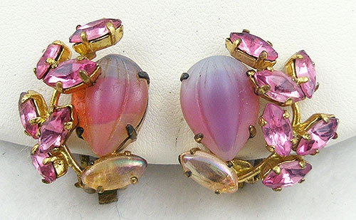 Germany - West Germany Pink Rhinestone Earrings