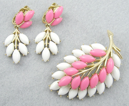 Trifari - Trifari White & Pink Leaf Brooch & Earrings Set
