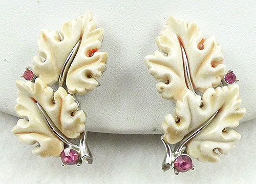 Earrings - Lisner Cream Oak Leaf Earrings