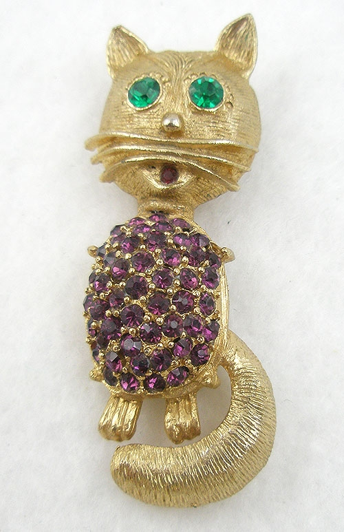 $25 or Less - Vintage Amethyst Rhinestone Cat Brooch