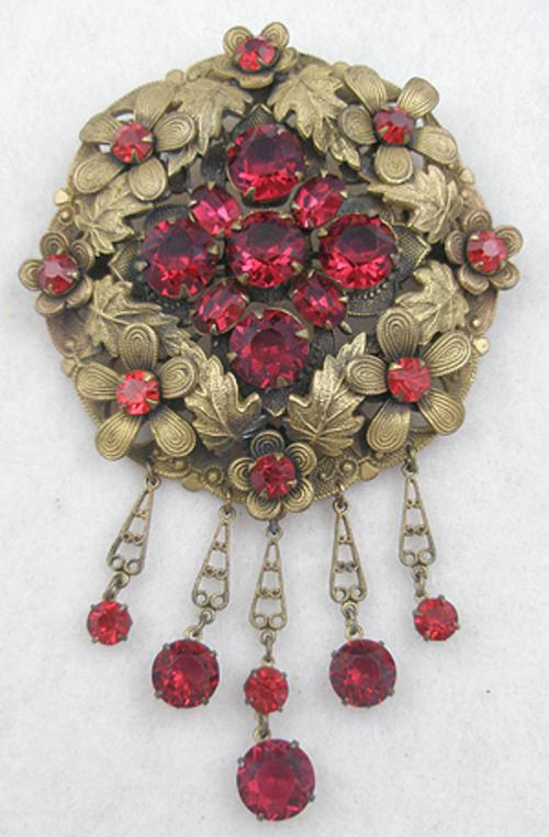 Newly Added Czech Red Rhinestone Brass Brooch