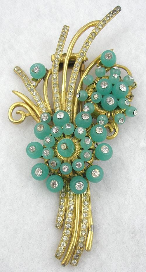 Florals - Green Glass 'Shoe Button' Floral Fur Clip