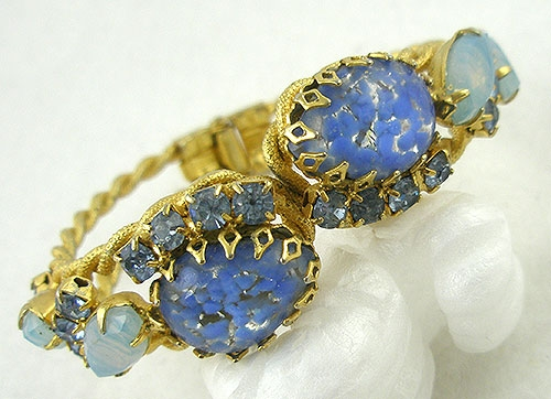 Bracelets - Blue Art Class Hinged Clamper Bracelet