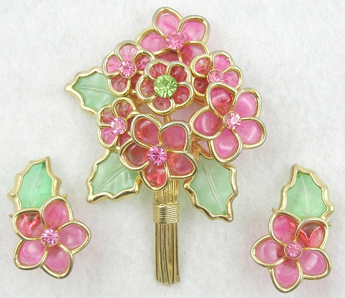 Florals - Coro Pink Flower Bouquet Brooch Set