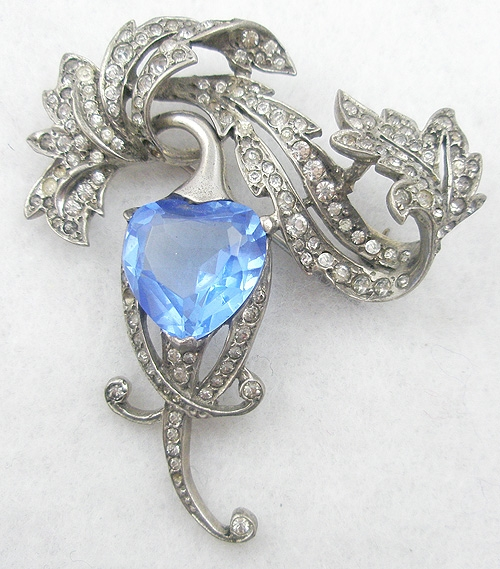 Hearts - MB Boucher Sterling Blue Heart Brooch