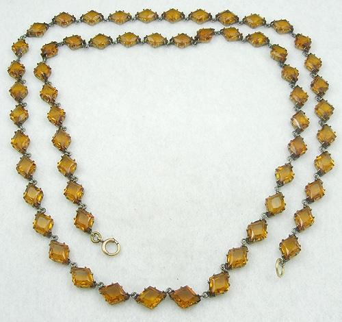 Necklaces - Topaz Glass Chiclet Necklace