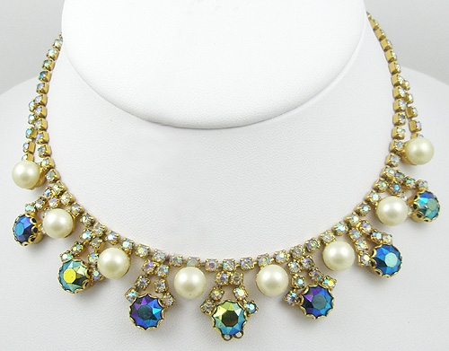 Necklaces - Aurora Rhinestone & Faux Pearl Necklace